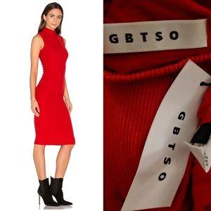 Nwt GBTSO Revolve red knit ribbed midi dress xs